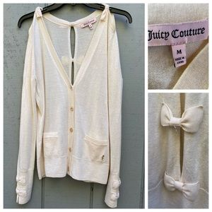 Juicy Couture Cold Shoulder Cardigan Sweater Wool
